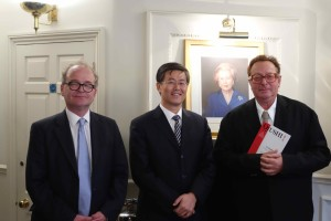 Mr Zhu Tiezhi, Qiushi Deputy Editor-in-chief, Lord Saatchi and Mr Tim Knox at the CPS.